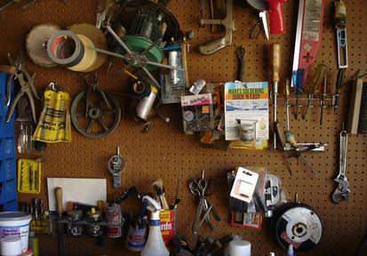 garage peg board with tools