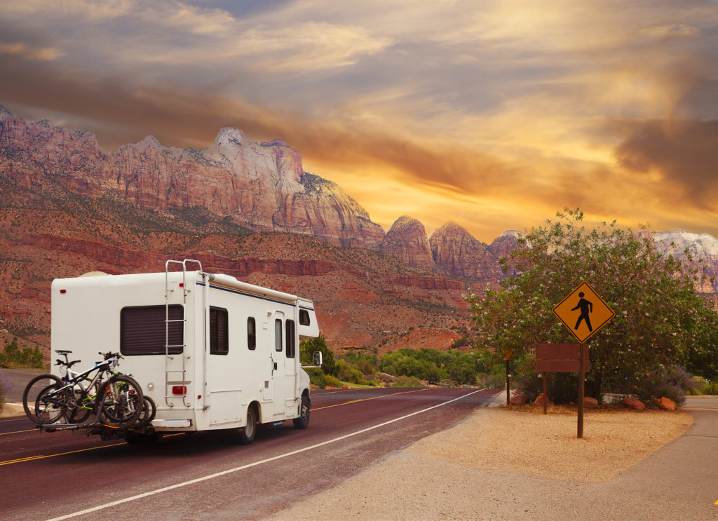 Camper and Motor Home traveling through Utah