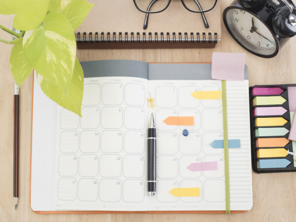 Calendar and desk organization concept